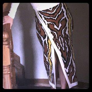 NWOT Edgy bandage tiger print skirt with slit